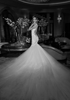 The #Loretta Galia Lahav wedding gown really does ooze old Hollywood glamour - that extravagant tulle skirt is just exquisite.   #GLCouture #GaliaLahav #WeddingDress #GlamWedding #WeddingGown #WeddingInspiration #WeddingPlanning
