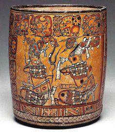 Maya, Late Classic Period, A. Mayan Glyphs, Aztec Art, Tikal, Mesoamerican, Cylinder Vase, Arte Popular, Mexican Art, Ancient Artifacts, Cacao