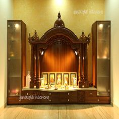 Mandir - Our Puja room. Pooja room ideas - Have a nice day at a luxurious place of your own. Find luxurious homes in Balewadi Temple Room, Home Temple, Temple House, Temple Design For Home, Mandir Design, Pooja Mandir, Pooja Room Door Design, Meditation Rooms, Zen Meditation