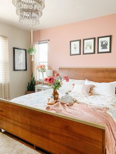 Friday Favs: Paint Colors - Sprucing Up Mamahood Bedroom with Dusty Rose Pink Wall Dusty Pink Bedroom, Pink Master Bedroom, Pink Bedroom Walls, Rose Bedroom, Bedroom Wall Colors, Accent Wall Bedroom, Master Bedroom Design, Home Decor Bedroom, Mauve Walls
