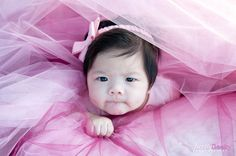 peekaboo with tutu material (baby girl photo ideas)