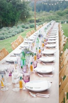 Stunning tablescape for an outdoor dinner party {Photo by OneLove Photography}