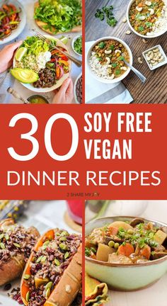 Easy soy free vegan dinner recipes that are also oil free and whole food plant based.