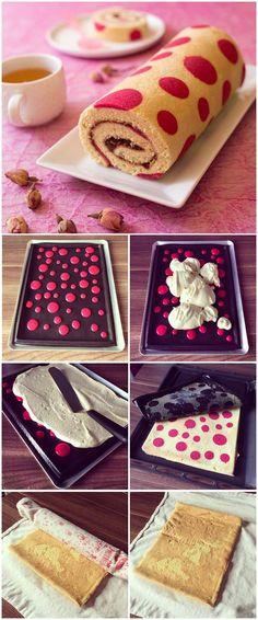 Gâteau roulé imprimé très girly à la confiture de fraise - Recettes de cuisine