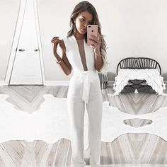 BEFORW 2018 Women Sexy Sleeveless V Neck Lace Up Wide Leg Long Jumpsuit Overalls Body suit White Causal Rompers macacao feminino Wedding Rompers, Wedding Jumpsuit, Wedding Dresses, Long Jumpsuits, Jumpsuits For Women, White Jumpsuits And Rompers, Rompers Dressy, Jumpsuit Outfit, Bodycon Jumpsuit