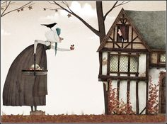 The wicked queen disguised as an old pedlar tempts Snow White with the poisoned apple - Iban Barrenetxea
