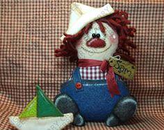 Lil' marinero Sam patrón #264 - patrón de muñeca primitiva - Raggedy - manoseado - marinero - velero - verano - Shelf Sitter - caprichosa