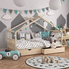 Montessori bed for children cm + 2 drawers - child bed - cabin bed - - Baby Bedroom, Girls Bedroom, Montessori Bedroom, Montessori Toddler, Small Hall, Big Living Rooms, Home Decoracion, Kids Room, Toddler Bed