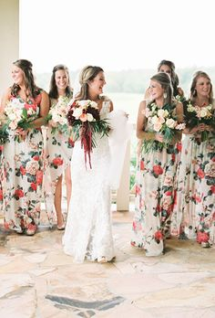 Brides.com: . Whether you opt for bold hues or pastel watercolors, floral bridesmaid dresses are always elegant and feminine.