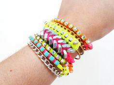 Neon fishtail bracelet DANI by FIVEANDTWOshop on Etsy, $30.00