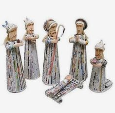 How to Recycle: Handcrafted Christmas Nativity Scenes Newspaper Crafts, Recycle Newspaper, Recycled Magazines, Recycled Crafts, Christmas Nativity Scene, Nativity Scenes, Magazine Crafts, Three Wise Men, Christmas Decorations