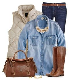 """Chambray Shirt for Fall"" by immacherry ❤ liked on Polyvore featuring Current/Elliott, J.Crew, The Limited, Sole Society, Dooney & Bourke, Tory Burch and Dorothy Perkins"