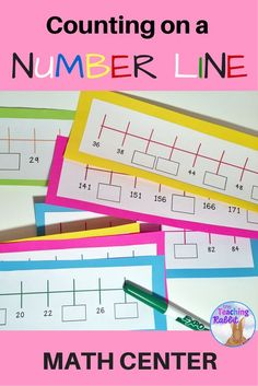 Students fill in the missing numbers on these 60 number line strips that deal with counting forwards and backwards by and Grade and 3 students will get practice skip counting at a this hands-on math center. Teaching Numbers, Math Numbers, Teaching Math, Math Stations, Math Centers, Line Math, Second Grade Math, Math Games Grade 1, Third Grade