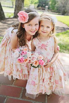 Floral and Ruffled Flower Girl Dresses | photography by http://www.dianamlottphotography.com/