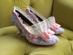 Marie Antoinette Costume Shoes Heels Rococo Baroque Fantasy Pumps Baby Blue Pink Bows and Snow White Lace Ruffle French Revolution CUSTOM by HexHeartHollow on Etsy