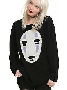 Studio Ghibli Her Universe Spirited Away No-Face Girls Sweater, BLACK