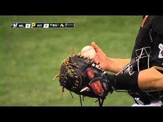 Milwaukee Brewers Player Martin Maldonado Hits The Ball And Takes The Cover Off - #Milwaukee #Brewers #baseball