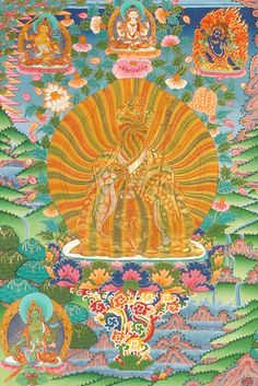 Rainbow Padmasambhava... the intricacy and detail are beautiful. I'm obsessed with Thanka-style clouds.