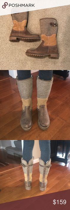 Cool Brown and Grey Color Blocked Boots So cute!!  Fleece lined, comfy and warm boots. Never worn, perfect condition. Bos & Co Shoes Winter & Rain Boots