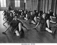 World War II Women: A.T.S. undergoing keep fit training. October 1941 P010195…