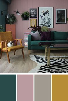 If modern and eclectic is your style, go for a pink and green color scheme. Not only is it unexpected, but it creates an unconventional vibe giving you the freedom to play with different prints and textures. | Color Combinations via Shutterfly