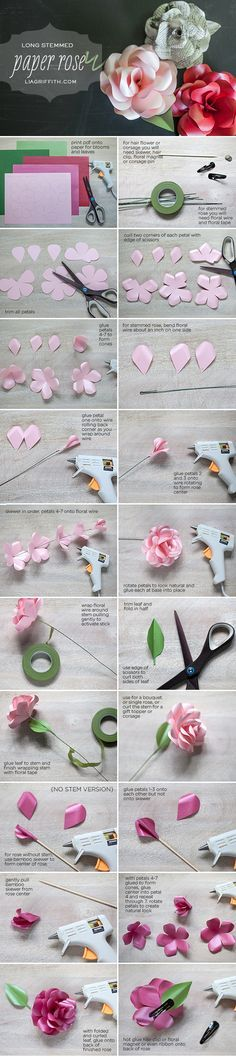 DIY Paper Rose Made with a Metallic Paper Long Stemmed Rose Tutorial #paperflower #craft #papercraft