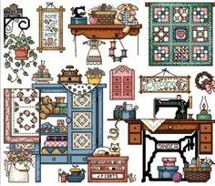 Toy House Sewing Room DMC Floss 14ct Cross Stitch Kit   eBay