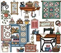 Toy House Sewing Room DMC Floss 14ct Cross Stitch Kit | eBay