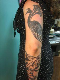 Art Nouveau peacock tattoo custom by Kai Smart