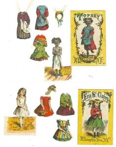 Eva St. Claire & Topsey McLoughlin Paper Dolls; Topsey Series Uncle Tom's Cabin