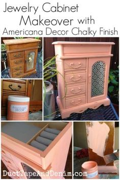 Jewelry cabinet makeover with Americana Chalky Finish paint. Great DIY idea for items you find at the thrift store.  Upcycle them to add charm to your home decor -- bedroom, bathroom, closet, etc.  | DuctTapeAndDenim.com