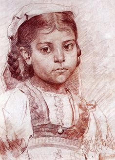 Portrait of a Dalmatian girl - Anton Azbe