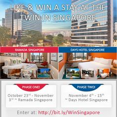 I just entered to win a #Singapore stay from @RamadaAsiaPac at either of the Zhongshan Park #TwinHotels! Would you like to win an #Asian retreat? Click the image and enter to win your getaway now!