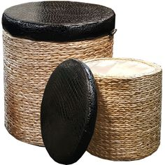 Large Medium Rattan Set 2 Round Cylindrical Pouffee Storage Box Stool Seat Lid