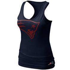 Nike New England Patriots Women's Big Logo Tri-Blend Tank - Navy Blue