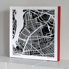 Williamsburg Brooklyn Hand-Drawn, Woodblock-Mounted Map Print. From the New York States of Mind Marketplace. Handmade in Fayetteville, NY by Salty Lyon.