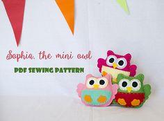 Items similar to Sophia, the mini owl - PDF sewing pattern, felt owl, ornament, softie on Etsy Sewing Hacks, Sewing Projects, Owl Ornament, Little Owl, Pdf Sewing Patterns, Softies, Hand Stitching, Mini, Make Your Own