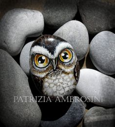 Owl No.5  Handpainted rock painting painted stone miniature painted rock. $24.00, via Etsy.