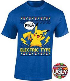 f86100874 Icustomworld Ugly Christmas Pokemon Pikachu Pika T-shirt Holidays Shirt S  Blue – Pokemon Christmas Gifts