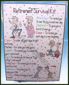 Ideas Party Ideas Retirement Survival Kits For 2019 Retirement Survival Kit, Retirement Party Gifts, Retirement Celebration, Retirement Party Decorations, Retirement Quotes, Retirement Cards, Survival Kits, Retirement Ideas, Birthday Gifts