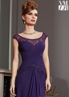 Dress for evening ware, cocktail dresses or social occasions by VM Collection 71006 Stretch Mesh/Lace Dress and Stole. Colors available: Aubergine, Navy, Charcoal. Sizes available: 2-26.