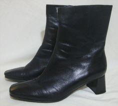 56.99$  Buy now - http://vidpf.justgood.pw/vig/item.php?t=vjg0ult26580 - NEW Etienne Aigner Black Leather Ankle Boot Short Bootie Med Heel Zipper 9.5