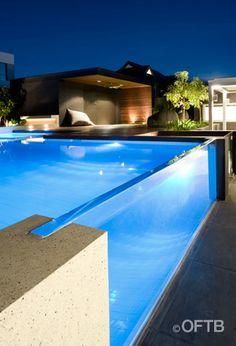 OFTB Melbourne landscaping, pool design & construction project - pool inc. window, spa, raised pool lounge inc. seat, pool deck, gym/garage ...