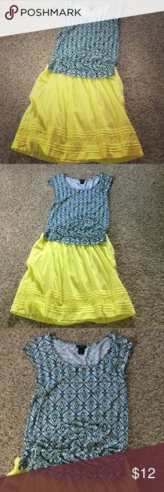 Ann Taylor shirt❤️ Like new Ann Taylor shirt with blue green and yellow design. Great alone or with a jacket/cardigan in spring or fall! Says XS but fits like a small.. Machine wash, line dry. Ann Taylor Tops Blouses
