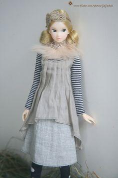 jiajiadoll grey 2 way dress fit momoko or misaki or by jiajiadoll