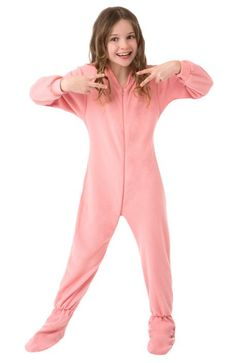 Pink Fleece Kids  Pink Fleece footy pajamas seem to be a hit with everyone, these are the popular pink fleece footy but for kids! Let'em be pretty in Pink in this classic footed pajama. You can even match mommy or daddy!  These fleece footed pajamas are ideal for chilly nights, micro-polar fleece footed pajamas are made from durable, yet luxurious 230 weight, designed not to pill with normal care.