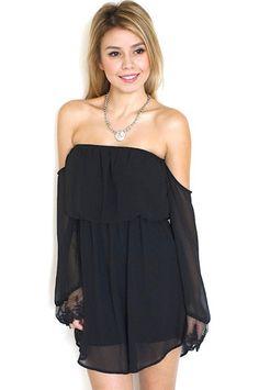 Black Chiffon Bell Sleeve Off The Shoulder Dress #LBD