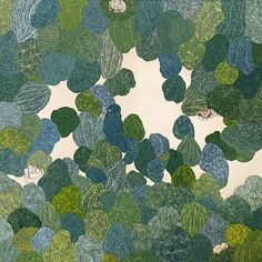 Katy Fischer,    trees and heads,  gouache on paper