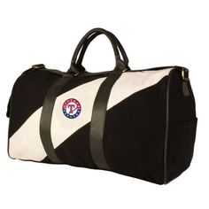 MLB Texas Rangers Pangea Vintage Canvas Duffles by Pangea Brands. $59.99. These barrel style vintage canvas duffle bags are durable and . They make for great weekender bags and general carry-all. Each features a full-color, generously sized team logo embroidered patch on the front. Also features faux-leather handles and shoulder strap, side pockets, metal feet on bottom of the bag, and zipper top. 20 inches wide by 11 inches tall and 11 inches deep.