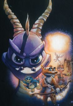"""""""Spyro the Dragon, illustrated by Drew Struzan"""" --- A Hero's Tail full cover art Childhood Games, My Childhood, Video Game Art, Video Games, Spyro And Cynder, Spyro The Dragon, Crash Bandicoot, Old Games, Lord"""